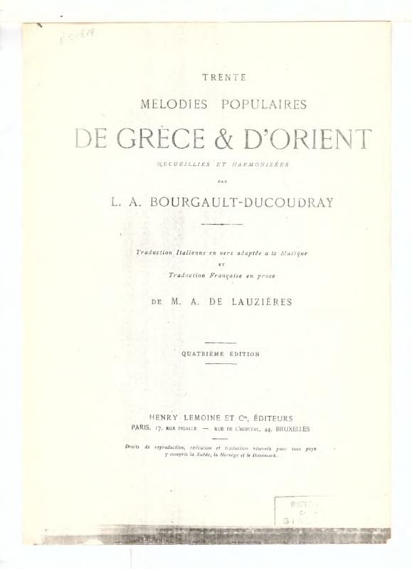 9. [Απ' τα μάτια σου τα μαύρα] (Trente Melodies Populaires de Grece et d' Orient recueillies et harmonisées par L.A. Bourgault-Ducoudray)
