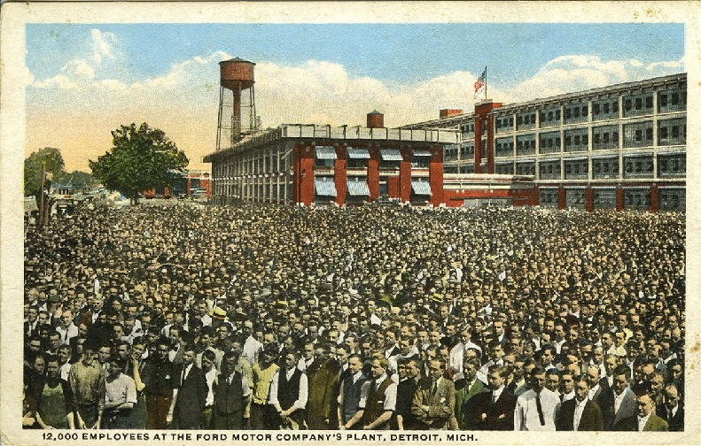 12.000 employees at the Ford Motor Company's plant, Detroit, Mich.