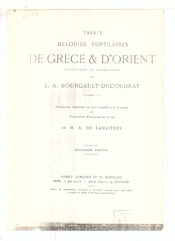 1. [Άιντε άιντε] (Trente Melodies Populaires de Grece et d' Orient recueillies et harmonisées par L.A. Bourgault-Ducoudray)