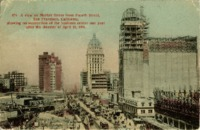 A view on Market Street from Fourth Street, San Francisco, California, showing reconstruction of the business centre one year after the disaster of April 18, 1906