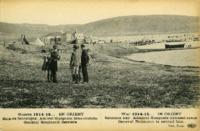 Guerre 1914-15...En Orient, Baie de Salonique. Amiral Guéprate bras croisés. Général Baumann derriére