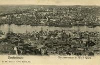 Constantinople, Vue panoramique de Péra et Galata