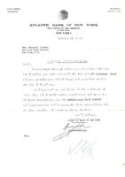Επιστολή της Atlantic Bank of New York στη Μαργαρίτα Ζάττα